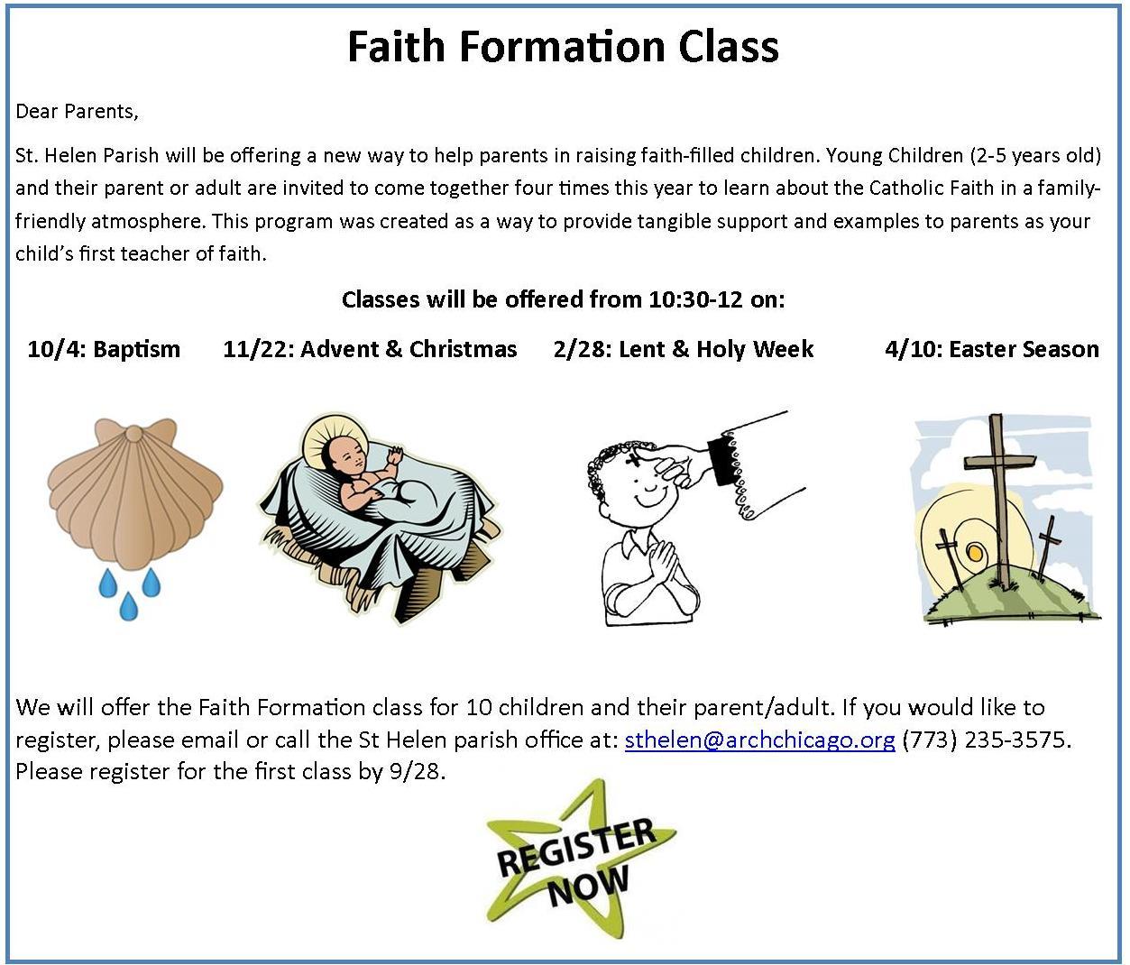 faith formation class flyer